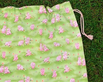 Girls cotton drawstring bag, little pigs, kindy sheet, toy or library bag for girls