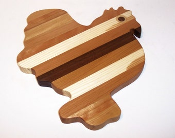 Rooster Cutting Board For The Country Kitchen Handcrafted from Mixed Hardwoods