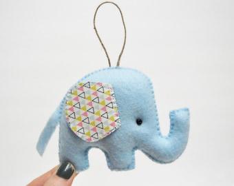 Elephant Christmas Ornament- Light Blue - Geometric Pattern - Baby Shower - Party Favor
