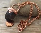 Smokey Quartz copper electroform necklace