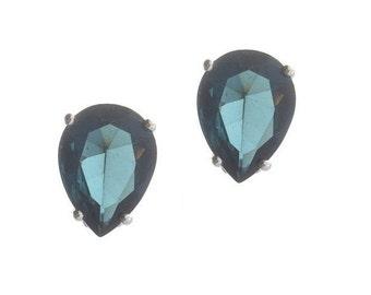 Sapphire Earrings, Vintage Statement Sapphire Pear CZ Studs, 1980 Fine Vintage Jewellery