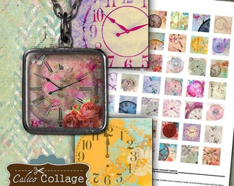 Dreamy Clocks Collage Sheet - 1x1 Inch Inchies - 1x1 Collage Sheet - Clock Image Sheet - Images for Pendants Resin Bezel - Calico Collage