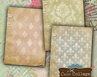 Tattered Shabby Chic Digital Collage Sheet Jewelry Holders, Earring Cards, Mini Cards, Mixed Media Art, Decoupage Paper, Scrapbooking
