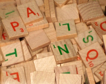 100  Wooden Holiday Red and Green Lettered  Scrabble Letter Tiles for Altered Art, Collage, Scrapbooking, etc.