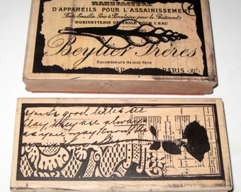 2 Large Used Stampington & Company Rubber Stamps - Rose Print and Parisian Shell Designs