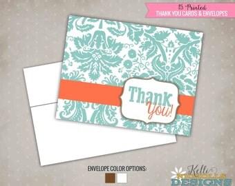 Floral Bridal Shower Thank You Cards, Folding Wedding Shower Thank You Notes, Mint and Coral #S108