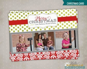Custom Damask Photo Christmas Card, Printable Holiday Polka Dot Greeting Card Picture #C102