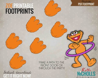 Printable Zoe Footprints, Digital Sesame Street Birthday Party Decorations, Instant Download