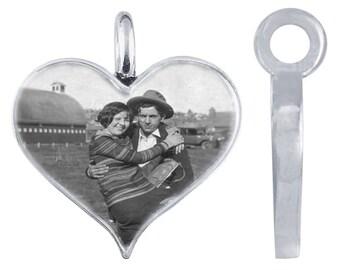Sterling Silver Heart Photo Pendant Slide