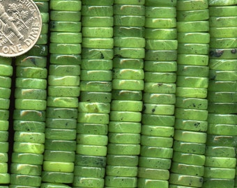 """CANADIAN JADE 10mm heishi button beads 7.75"""" half strand Natural Color"""