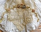 French Antique Lovely Silk Ribbonwork Trim