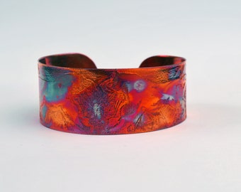 Coloured copper lynx cuff, Multi coloured copper cat bangle, medium rainbow surgical copper cuff alternative design