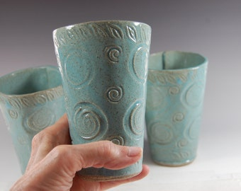 Large Textured Handbuilt Tumblers - Turquoise