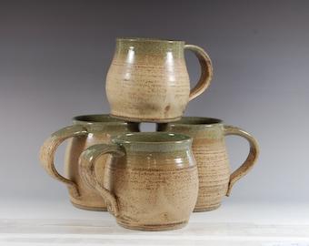 Large Pottery Mug, Celedon Green With Bamboo glaze