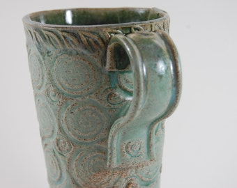 Huge Pottery Beer Stein - 30 OZ, Turquoise With Purple Glase