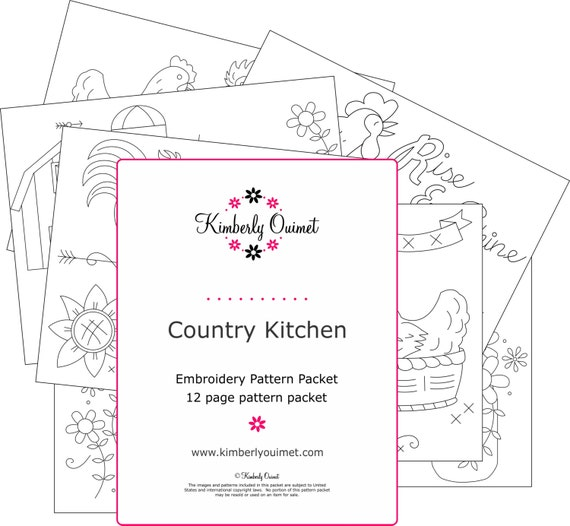 Country Kitchen Embroidery Design Farm Kitchen Theme Hand ...