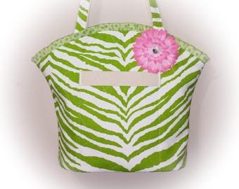 FREE Ship USA Canada - J Castle Boutique Bag - Green Animal Print Canvas Fabric - (Ready to Ship)