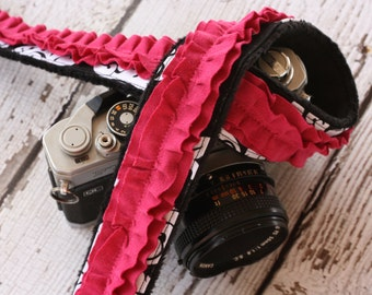 Camera Strap. dSLR Camera Strap.  Rasperry Ruffle Camera Strap.  Damask Camera Strap. Camera Neck Strap. Padded Camera Strap