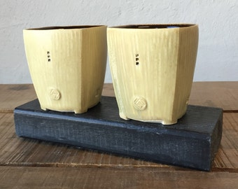 Whiskey Tumbler Pair - Tan