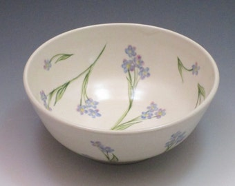 Handthrown porcelain bowl with handpainted forget-me-nots, cereal bowl, soup bowl