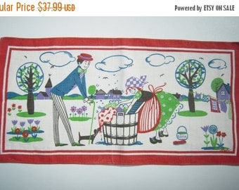 CLEARANCE SALE Vintage Swedish Textile Mid Century Meet Cute at the Laundromat Signed
