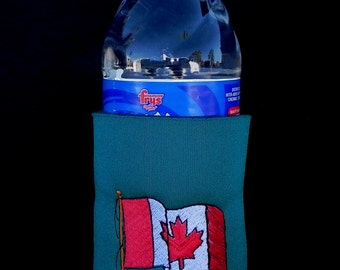 Canadian Red and White Maple Leaf Flag Embroidered on Can Cooler. Name on Bottle or Can Cooler with Machine Embroidered  phrase if you wish.