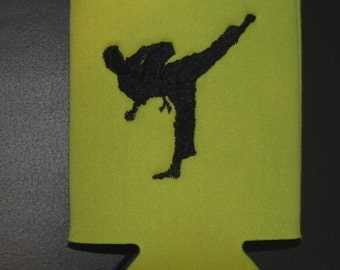 Can Cooler with Male Marial Arts or Karate Guy.  Name on one side on Bottle or Can Cooler with Machine Embroidered  phrase if you wish.