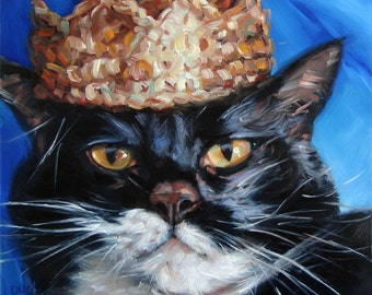 CleverCat, custom cat paintings, original oil portraits from your photos, 10x10""