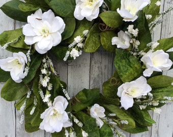 Wedding Wreath, Wreath, Magnolia Wreath, Wedding Wreath, Artificial White Magnolia Wreaths