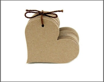 "Blank Kraft Paper Heart Tags Rustic Wedding Tags Gift Tags Size 2"" Set of 50"