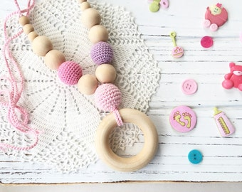 Pink -  baby girl - Wooden teether - Nursing necklace - Teething necklace - teething ring - Pink necklace - baby shower gift - teething toy