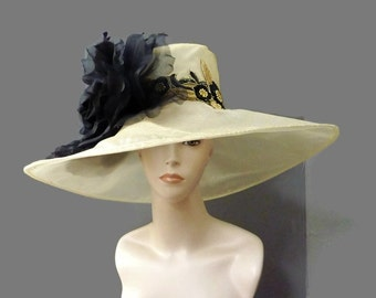 """Women's Kentucky Derby Hat, Bridal Luncheon Hat, Garden and Tea Party Hat in Sheer Gold Organza - """"Champagne Brunch at the Landmark"""""""