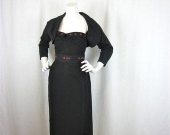 50% Off Sale Vintage 50s Alpha Female Strapless Bodice, Wiggle Skirt, Bolero and Wiggle Skirt Set, Sz S