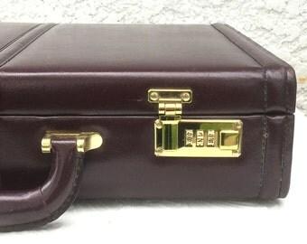 Vintage Briefcase, Dark Burgundy Vintage Top Grain Leather Briefcase with Combination Locks, Gold-Toned Hardware, Monarch Luggage Co.