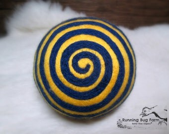 Wool Ball Toy With Rattle Blue and Gold Wool Rattle Kids Toy Baby Toy Natural Wool Rattle Soft & Safe WVU Wool Ball Cat Toy Dog Toy Pet Toy
