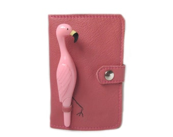 pink leather flamingo notebook journal