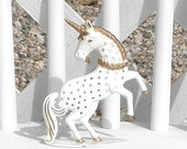Vintage Unicorn Earring Holder Metal White and Gold