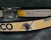 Adjustable Dog Collar from Recycled KCCO Gold Lager Beer Labels *** (bling sold separately)***
