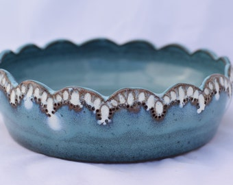 Turquoise Blue and White Mini Casserole Dish / Brie Baker - Ceramic Stoneware Pottery