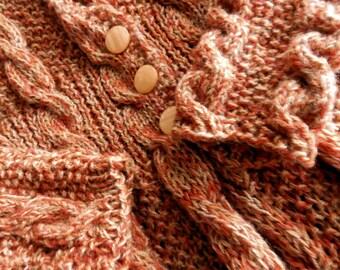 Vintage 1980s MEDIUM Hand Knit Wool Sweater Coat Mint Condition PUMPKIN Long