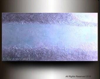 Original modern art ABSTRACT PAINTING textured metallic blue wall hanging acrylic fine art decor Carol Lee Art Studio