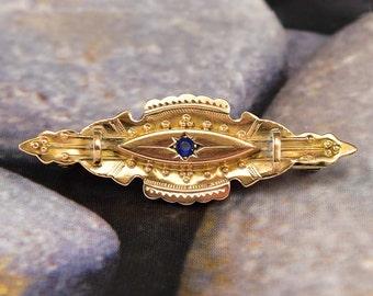 Antique Victorian Sapphire 9K Gold Locket Brooch Pin, Victorian Brooch, Etruscan Jewelry, Antique Jewelry, Victorian Locket Sapphire Paste