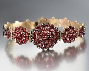 Antique Bohemian Garnet Bracelet, Garnet Flower Cluster Bracelet, Gold Bracelet, Victorian Bracelet, Antique Jewelry, Rose Cut Gemstone