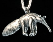 Giant Anteater Charm Anteater Pendant  Anteater Necklace Anteater Jewelry Silver Rainforest Jewelry African Jewelry Animal Necklace