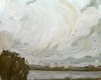 Frerrich's Farm Clouds | Original Landscape Oil Painting | 12 x 12