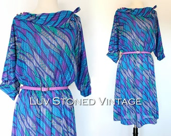 80s Abstract Blouson Secretary Dolly Pattern Dress . S/M . D003. 1141.3.8.16