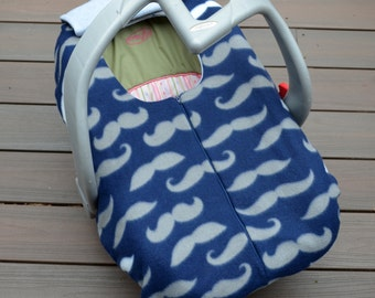 Mustaches on Navy Infant Car Seat Cover, Blanket with Zipper for Fall, Winter, or Spring Baby