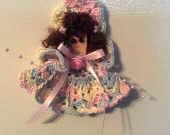 Crochet Kitchen Angel Fridgie Magnet Doll