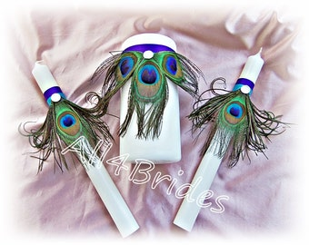 Peacock Wedding Unity Candle Set Purple and Turquoise ceremony unity candle and taper candles