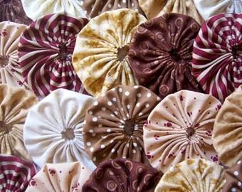 Wedding Fabric Flower YO YO 40 BEIGE Brown Tan 2 Inch Barrette Hair Clip Trim Applique